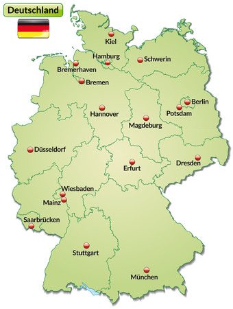 Map of Germany with main cities in pastel green