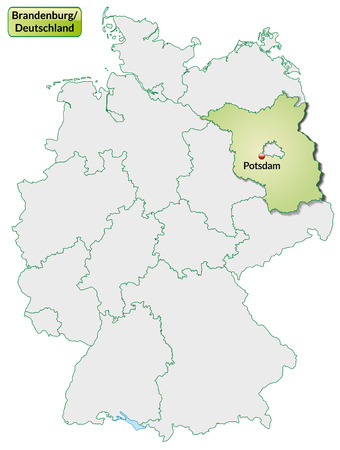 Map of Brandenburg with main cities in pastel green Vector
