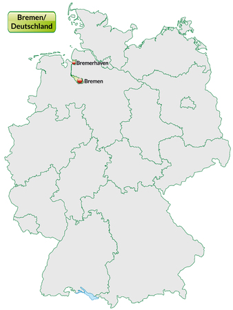 bremen: Map of Bremen with main cities in pastel green Illustration