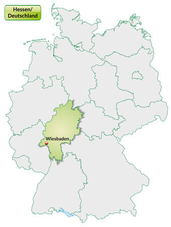 Map of Hesse with main cities in pastel green