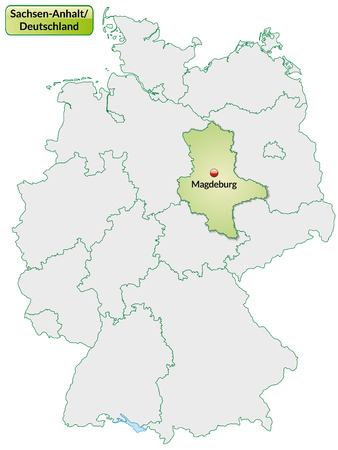 lasting: Map of Saxony-Anhalt with main cities in pastel green