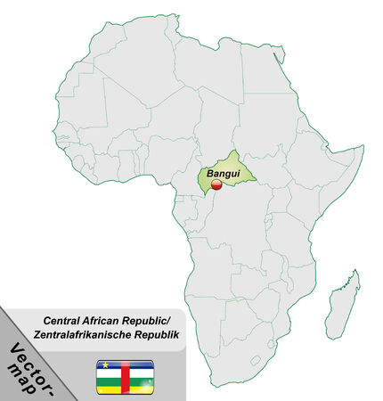 central african republic: Map of Central African Republic with main cities in pastel green