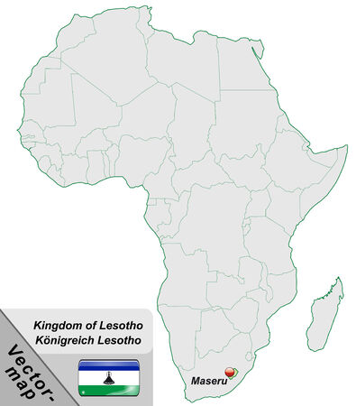 lesotho: Map of Lesotho with main cities in pastel green