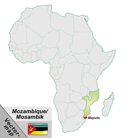 cartographer: Map of mozambique with main cities in pastel green Illustration