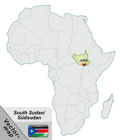 south sudan: Map of South Sudan with main cities in pastel green