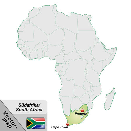 Map of south africa with main cities in pastel green Illustration