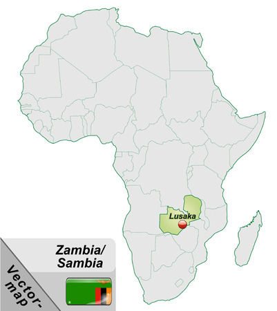 zambia: Map of Zambia with main cities in pastel green