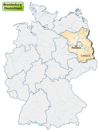 Map of Brandenburg with main cities in pastel orange Vector
