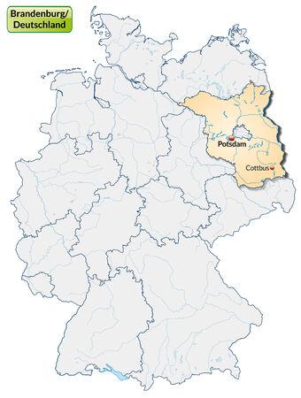 falkensee: Map of Brandenburg with main cities in pastel orange