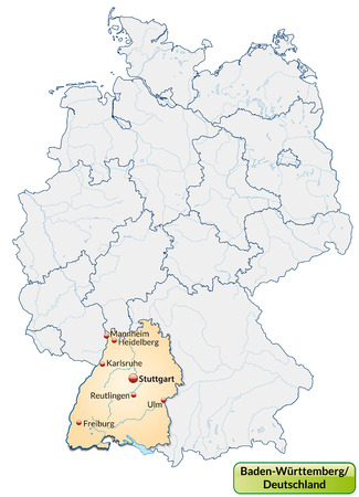 cartographer: Map of Baden-Wuerttemberg with main cities in pastel orange