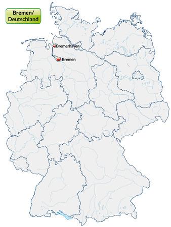 bremen: Map of Bremen with main cities in pastel orange
