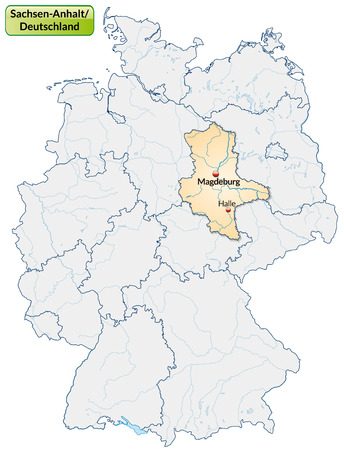 lasting: Map of Saxony-Anhalt with main cities in pastel orange