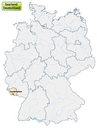 saarlouis: Mapa de Saarland con las principales ciudades de naranja pastel Vectores