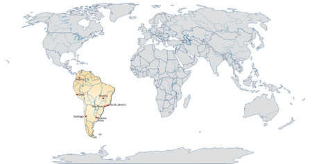 georgetown: Map of South America with main cities in pastel orange