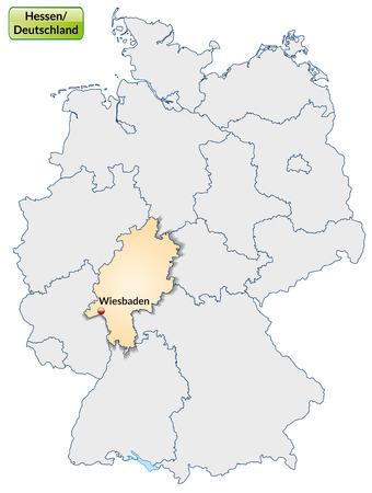 frankfurt germany: Map of Hesse with main cities in pastel orange