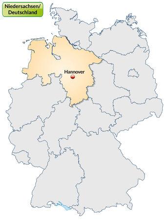 Karte Von Niedersachsen Mit Den Wichtigsten Stadten In