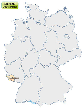 saarlouis: Map of Saarland with main cities in pastel orange Illustration