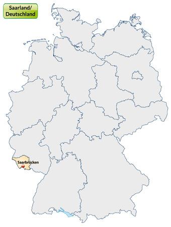 saarlouis: Map of Saarland with main cities in pastel orange Illustration