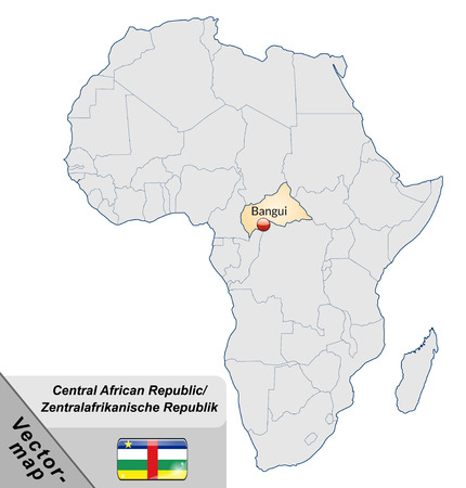 central african republic: Map of Central African Republic with main cities in pastel orange Illustration