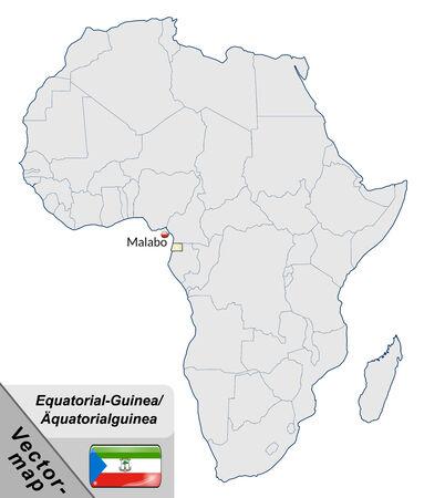 guinea equatoriale: Mappa della Guinea Equatoriale con le principali citt� pastello arancione