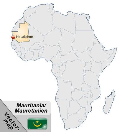 mauritania: Map of mauritania with main cities in pastel orange