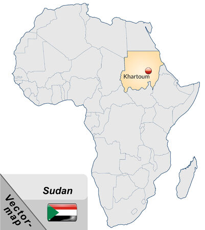 sudan: Map of sudan with main cities in pastel orange