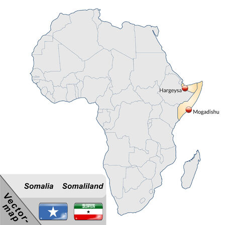 somaliland: Map of Somalia with main cities in pastel orange