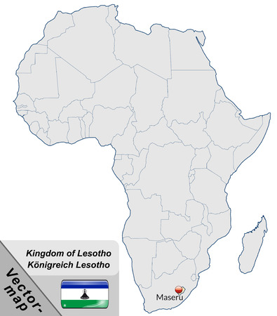lesotho: Map of Lesotho with main cities in pastel orange