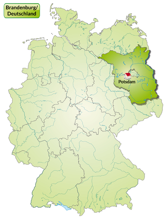 Map of Brandenburg with main cities in green Vector