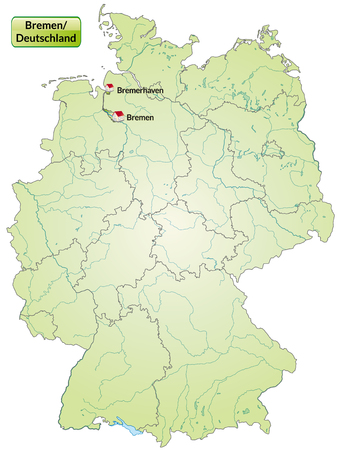 Map of Bremen with main cities in green Vector