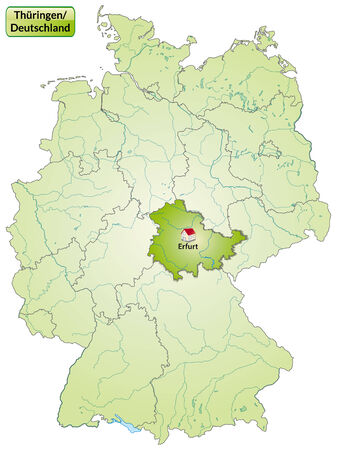 cartographer: Map of thuringia with main cities in green
