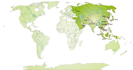 yerevan: Map of Asia with main cities in green