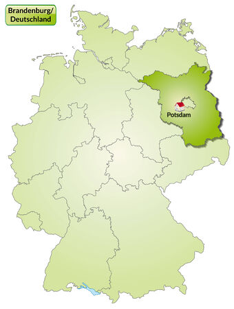 falkensee: Map of Brandenburg with main cities in green