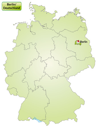 Map of Berlin with main cities in green Vector