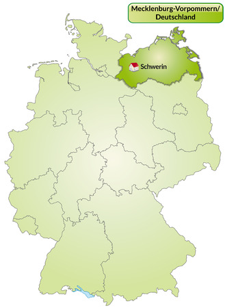 cartographer: Map of Mecklenburg-Western Pomerania with main cities in green