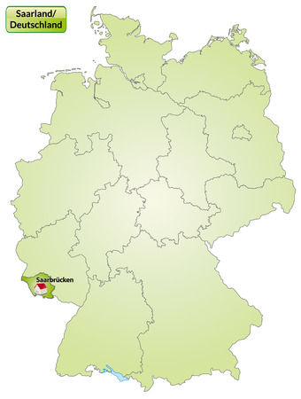 saarlouis: Map of Saarland with main cities in green Illustration