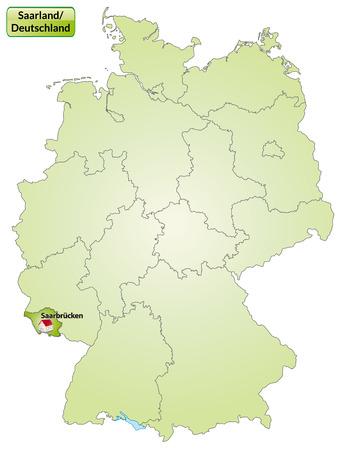 saarlouis: Mapa de Saarland con las principales ciudades en verde