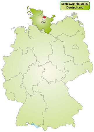 holstein: Map of Schleswig-Holstein with main cities in green Illustration