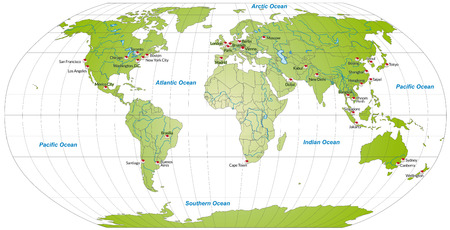 Map of world with main cities in green Vector