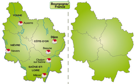 sur: Map of Burgundy with borders in green