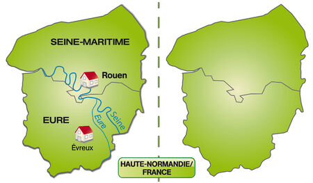 normandy: Map of Upper Normandy with borders in green