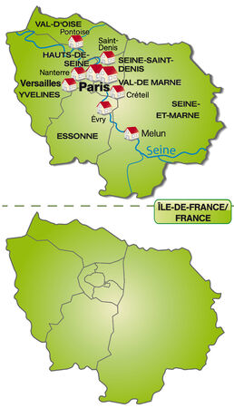 Map of Ile-de-France with borders in green Illustration