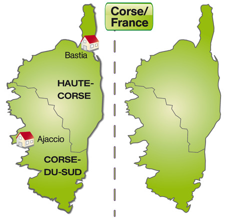 Map of corsica with borders in green Vector