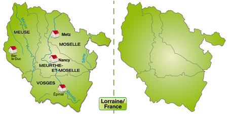 Map of lorraine with borders in green