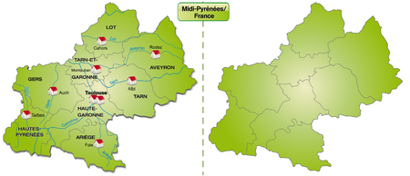 Kaart van Midi-Pyrenees met randen in het groen