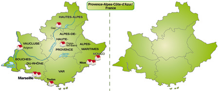 Map of Provence-Alpes-Cote d Azur with borders in green Vector