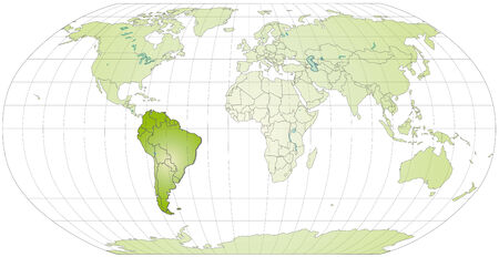 georgetown: Map of South America with borders in green