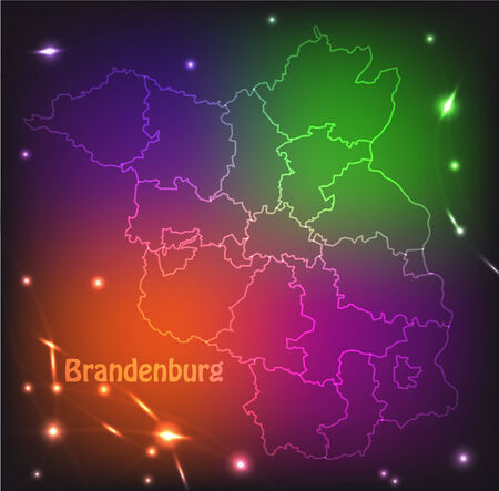 falkensee: Map of Brandenburg with borders with bright colors Illustration