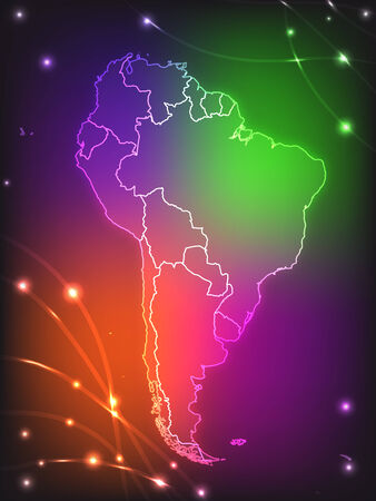 georgetown: Map of South America with borders with bright colors Illustration
