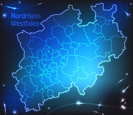 north rhine westphalia: Map of North Rhine-Westphalia with borders with bright colors